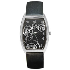 Chain Iron Polka Dot Black Silver Barrel Style Metal Watch by Mariart