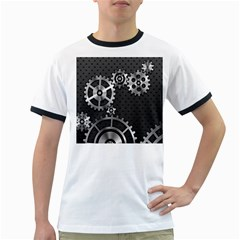 Chain Iron Polka Dot Black Silver Ringer T Shirts by Mariart