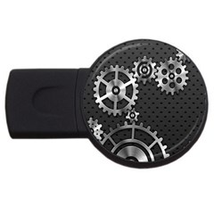 Chain Iron Polka Dot Black Silver Usb Flash Drive Round (4 Gb) by Mariart