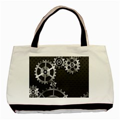 Chain Iron Polka Dot Black Silver Basic Tote Bag by Mariart