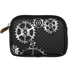 Chain Iron Polka Dot Black Silver Digital Camera Cases by Mariart