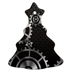 Chain Iron Polka Dot Black Silver Ornament (christmas Tree)  by Mariart