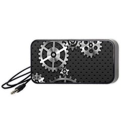 Chain Iron Polka Dot Black Silver Portable Speaker (black) by Mariart
