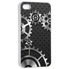 Chain Iron Polka Dot Black Silver Apple Iphone 4/4s Seamless Case (white) by Mariart