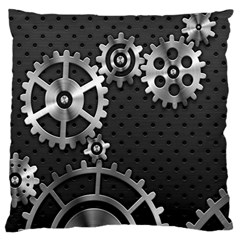 Chain Iron Polka Dot Black Silver Large Cushion Case (one Side) by Mariart