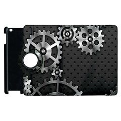 Chain Iron Polka Dot Black Silver Apple Ipad 2 Flip 360 Case by Mariart