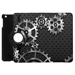 Chain Iron Polka Dot Black Silver Apple Ipad Mini Flip 360 Case by Mariart