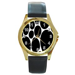 Dalmatian Black Spot Stone Round Gold Metal Watch by Mariart