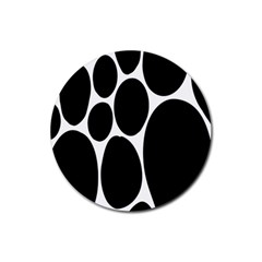 Dalmatian Black Spot Stone Rubber Coaster (round)  by Mariart