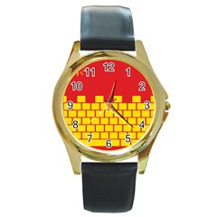 Firewall Bridge Signal Yellow Red Round Gold Metal Watch by Mariart