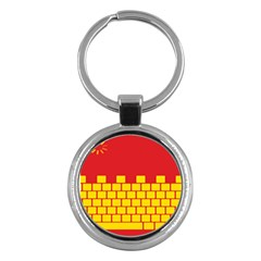 Firewall Bridge Signal Yellow Red Key Chains (round)  by Mariart