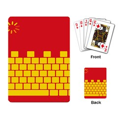 Firewall Bridge Signal Yellow Red Playing Card by Mariart