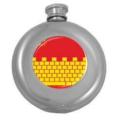Firewall Bridge Signal Yellow Red Round Hip Flask (5 Oz) by Mariart
