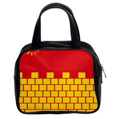 Firewall Bridge Signal Yellow Red Classic Handbags (2 Sides) by Mariart