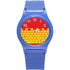 Firewall Bridge Signal Yellow Red Round Plastic Sport Watch (s) by Mariart