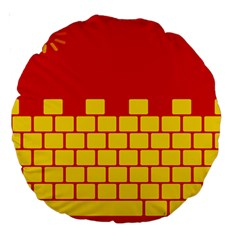 Firewall Bridge Signal Yellow Red Large 18  Premium Round Cushions by Mariart