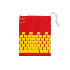 Firewall Bridge Signal Yellow Red Drawstring Pouches (small)  by Mariart