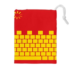 Firewall Bridge Signal Yellow Red Drawstring Pouches (extra Large) by Mariart