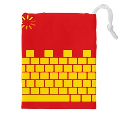 Firewall Bridge Signal Yellow Red Drawstring Pouches (xxl) by Mariart