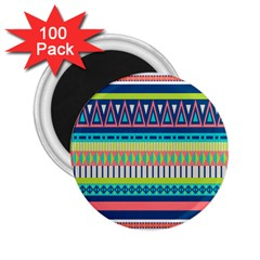 Aztec Triangle Chevron Wave Plaid Circle Color Rainbow 2 25  Magnets (100 Pack)