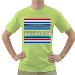 Aztec Triangle Chevron Wave Plaid Circle Color Rainbow Green T Shirt by Mariart