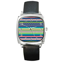 Aztec Triangle Chevron Wave Plaid Circle Color Rainbow Square Metal Watch by Mariart