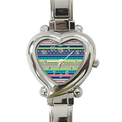 Aztec Triangle Chevron Wave Plaid Circle Color Rainbow Heart Italian Charm Watch by Mariart