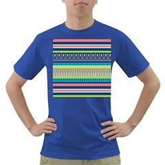 Aztec Triangle Chevron Wave Plaid Circle Color Rainbow Dark T-shirt by Mariart