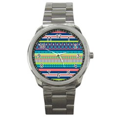 Aztec Triangle Chevron Wave Plaid Circle Color Rainbow Sport Metal Watch by Mariart
