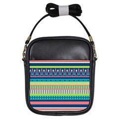 Aztec Triangle Chevron Wave Plaid Circle Color Rainbow Girls Sling Bags by Mariart