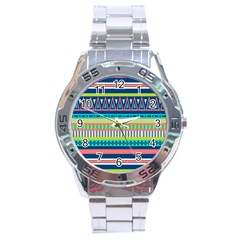 Aztec Triangle Chevron Wave Plaid Circle Color Rainbow Stainless Steel Analogue Watch by Mariart