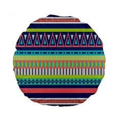 Aztec Triangle Chevron Wave Plaid Circle Color Rainbow Standard 15  Premium Round Cushions by Mariart