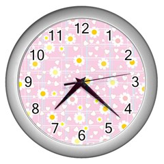 Flower Floral Sunflower Pink Yellow Wall Clocks (silver)  by Mariart
