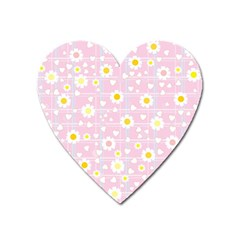 Flower Floral Sunflower Pink Yellow Heart Magnet by Mariart