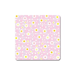 Flower Floral Sunflower Pink Yellow Square Magnet by Mariart