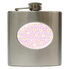 Flower Floral Sunflower Pink Yellow Hip Flask (6 Oz) by Mariart