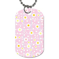 Flower Floral Sunflower Pink Yellow Dog Tag (two Sides) by Mariart
