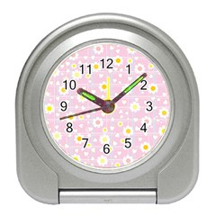 Flower Floral Sunflower Pink Yellow Travel Alarm Clocks by Mariart