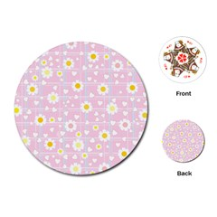 Flower Floral Sunflower Pink Yellow Playing Cards (round)  by Mariart