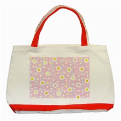 Flower Floral Sunflower Pink Yellow Classic Tote Bag (red) by Mariart