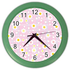 Flower Floral Sunflower Pink Yellow Color Wall Clocks by Mariart