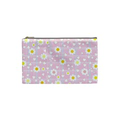 Flower Floral Sunflower Pink Yellow Cosmetic Bag (small)  by Mariart