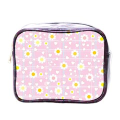 Flower Floral Sunflower Pink Yellow Mini Toiletries Bags by Mariart