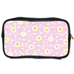 Flower Floral Sunflower Pink Yellow Toiletries Bags 2 Side by Mariart