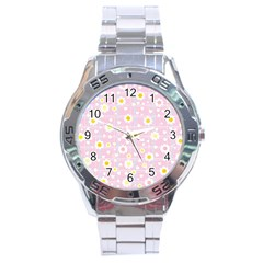 Flower Floral Sunflower Pink Yellow Stainless Steel Analogue Watch by Mariart