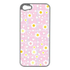 Flower Floral Sunflower Pink Yellow Apple Iphone 5 Case (silver) by Mariart