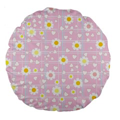 Flower Floral Sunflower Pink Yellow Large 18  Premium Round Cushions by Mariart