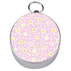 Flower Floral Sunflower Pink Yellow Silver Compasses by Mariart