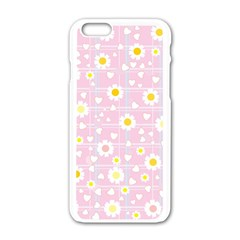 Flower Floral Sunflower Pink Yellow Apple Iphone 6/6s White Enamel Case by Mariart