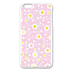 Flower Floral Sunflower Pink Yellow Apple Iphone 6 Plus/6s Plus Enamel White Case by Mariart